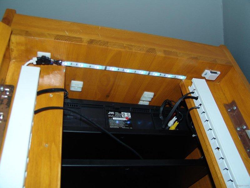 Led strip lighting for my av rack cabinet led strip installed in the upper section of the rack aloadofball Gallery
