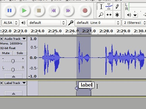 Create labels in audacity